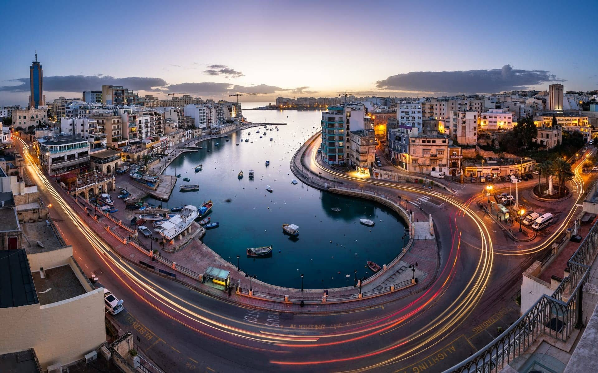 Aerial View on Saint Julian and Spinola Bay at Dawn, Malta-Square