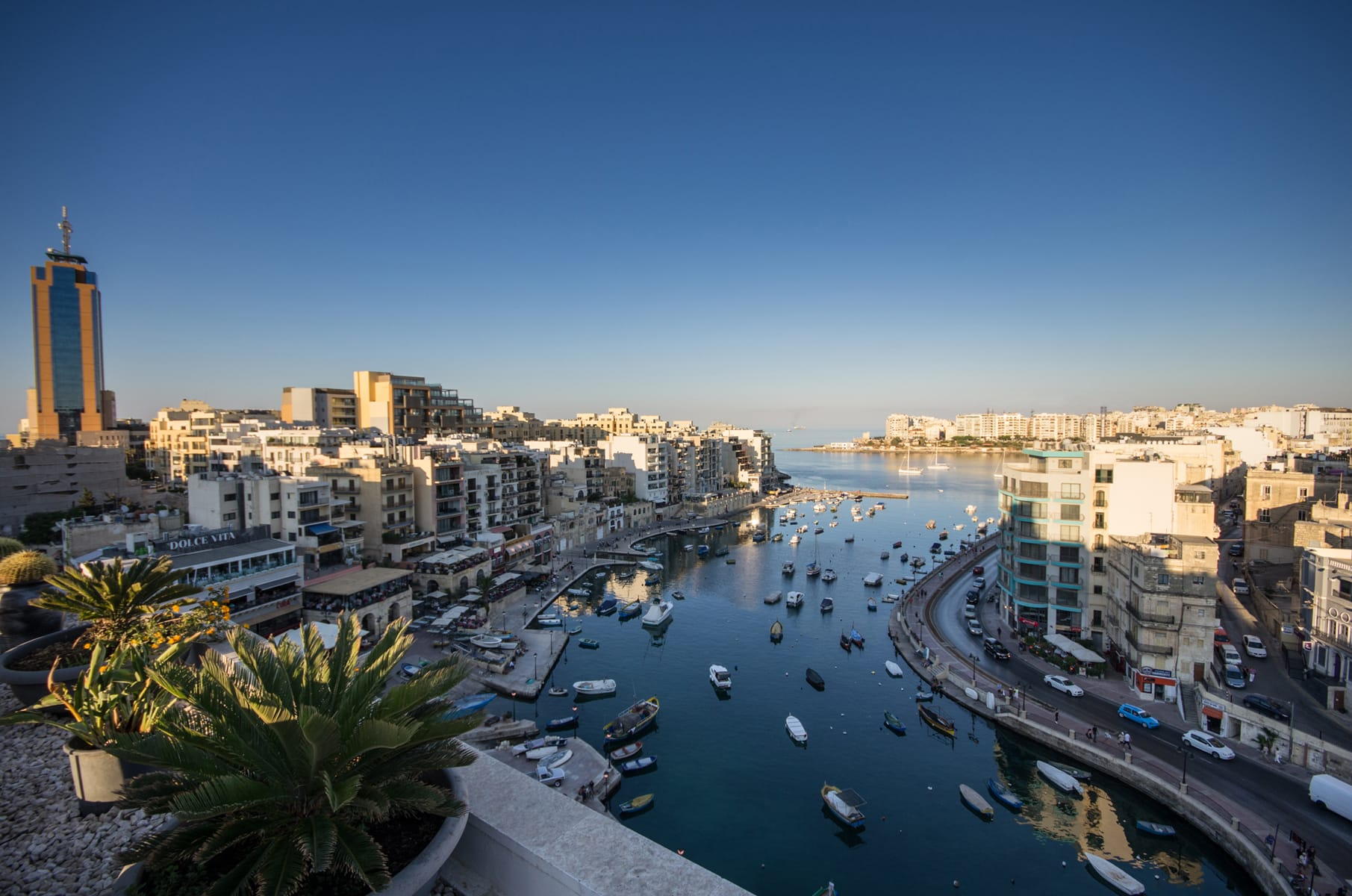 Rooftop views over Spinola Bay in Malta